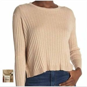 NORDSTROM NWT Oatmeal Button Side Crop Sweater